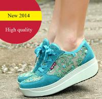 2014 summer genuine leather platform shoes female single shoes gauze breathable women's wedges shoes sneaker