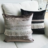 """2015 Home Decoration ikea Velvet pillow cover Fringed lace stitching sofa Pillows Case 18 """" chair 45cm cushions"""