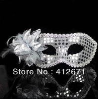 Beautiful 5pcs Silver Sequined Masquerade Masks for Girls with Flowers Women's Masquerade Masks for Prom