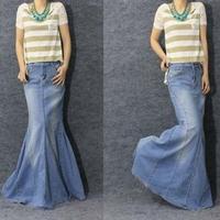 2014 spring Cool fish tail mermaid skirt blue denim long skirt ultra long Women jeans Causal Maxi Skirt plus size S-XL drop ship