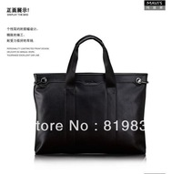 HOT SALE100% original Marvelous M868-1 men business leisure handbag letter split leather soft handle high quality free shipping