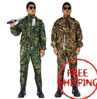 free shipping 2015 New summer big size XL-6XL zipper training uniform camping set Camouflage suits Hooded coat and trousers