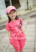 Retail Free shipping Summer two side wear girl minnie shirt + middle pants set,kids clothing set,kids shirt