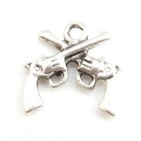 Free Shipping 120pcs/lot Alloy Pistol Shape Charms Antique Silver Plated Pendant Fit Jewelry Making 16x16x3mm