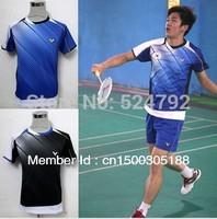 wholesale!Original edition New 2012 South Korea Olympic race suit VICTOR Mens Badminton / Tennis Shirts Black/Blue