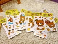 FREE SHIPPING Rilakkuma Bear Sticker card DIY Cartoon Self-adhesive Multifunction packaging seal Gift 544PCS/LOT Say Hi CP 20406