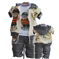 baby cartoon bear suit kids suit children autumn 3pcs set Outerwear+T-shirt+Pants for boys,3size*2colors in stock free shipping