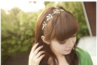 New Fashion Gold Elastic Romantic Olive Branch Leaves Head Bands Hair Accessories Free shipping [JH01017*6]