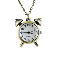 2014 Alarm Clock Shape Pocket Watch Fashion Novel Design Delicate Chain Necklace for Women
