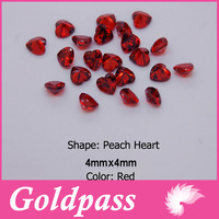 Free Shipping 100 pcs / pack 4x4 mm Zircon 3D nails decoration nail art accessories Red Clear Peach Heart Point Back ND-029A