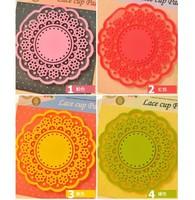 FREE SHIPPING Cup Pad Mug Mat Coaster Korean Lace Silicon Waterproof Promotion household wedding Gift Say Hi 66PCS/LOT TC 203302