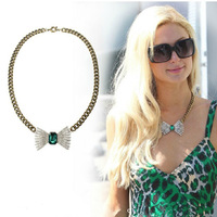 3pcs/lot Free Shipping Emerald Green Crystal Necklace for Women Gold Chunky Chain Choker Imitation Gemstone Bow Necklace Flower