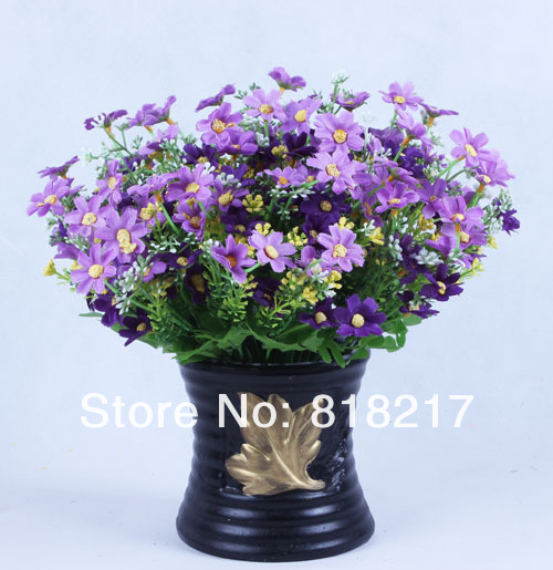 5 stems Wild chrysanthemum Artificial Silk Flowers Plants Imitaion Indoor Flowers purple(China (Mainland))