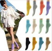 Free Shipping Vintage Solid Color Soft Velet Socks Vivi Ankle Socks Women's Socks