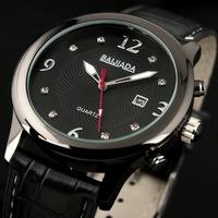 ESS Antique Black Auto Date Display Quartz Watch for Men Leather Band Strap Classic Style WM296-1