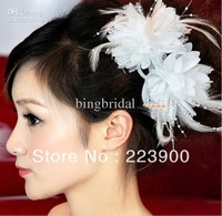 2013 Beautiful Ivory Petal Feather Wedding Hats Veil Bridal Flower Headwear