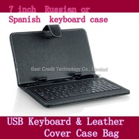 "Free shipping dropshipping USB Keyboard & Leather Cover Case Bag for 7"" Tablet PC Russian  or Spanish  keyboard case"