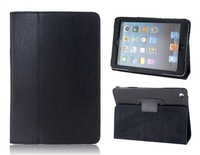 Litchi Pattern PU Leather Flip Case with Stand for iPad Mini (Black)