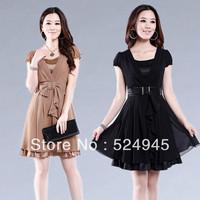 2013 summer chiffon one-piece dress slim rhinestones lace ruffle laciness skirt chiffon skirt