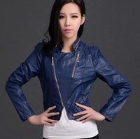 Free Shipping! 2013 spring new European and American Women Fashion locomotive PU leather short paragraph Slim leather jacket