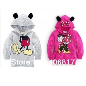 2014 New Arrivals Spring Children Boys Girl Hoodie Long Sleeve Hoodies Mickey Minnie mouse cartoon top kids hoodie sweatshirt