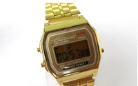 Metallic The Table Gold And Silver Color Light F-91W Ultra-thin Electronic Watch 159 Watch