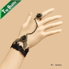 B355 gothic jewelry lace charm bracelets and rings black crystal pendant metal chain tassels black ring women sexy enchanting
