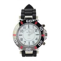 Big V6 Round Dial Soft Rubber Band Three Buttons Quartz Movement Wrist Watch -White