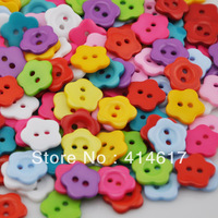 100 x 21mm Mini Flower 2Holes Plastic Buttons Kid's Sewing Crafts Mix