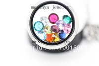 2013 floating charm 6mm round birthstone 12 colors available no glass locket this order Xmas gift mother's day