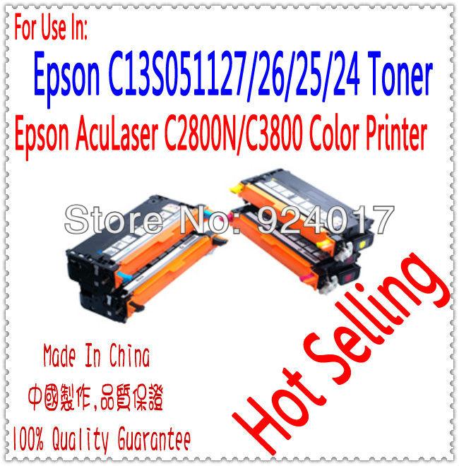 Reset Toner For Epson AcuLaser C2800N/C3800 Laser Printer,Use For Epson Toner C13S051127/26/25/24,Use For Epson 2800 3800 Toner(China (Mainland))