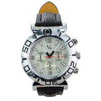 High Grade V6 PU Leather Watchband Compact Round Dials Quartz Movement Wrist Watch-White FREE SHIPPING