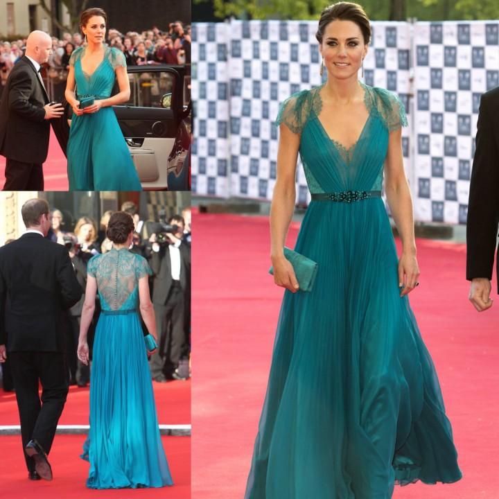 meistverkauften bescheidenen v- Hals Kate Middleton teal Ärmel spitze ...