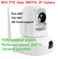DHL Ship HD Wireless IP camera H.264, 10x Optical Zoom  high speed dome type 1/4 SONY CCTV 480TVL with Zoom lens IR20 Meters