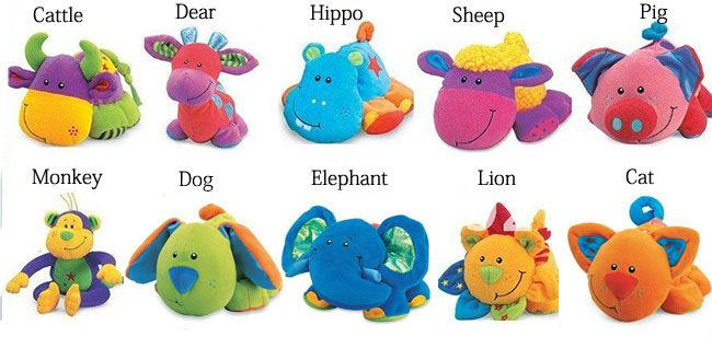 2014 New 10pcs/lot Baby Plush Animals Toys Different Design / Free shipping(China (Mainland))