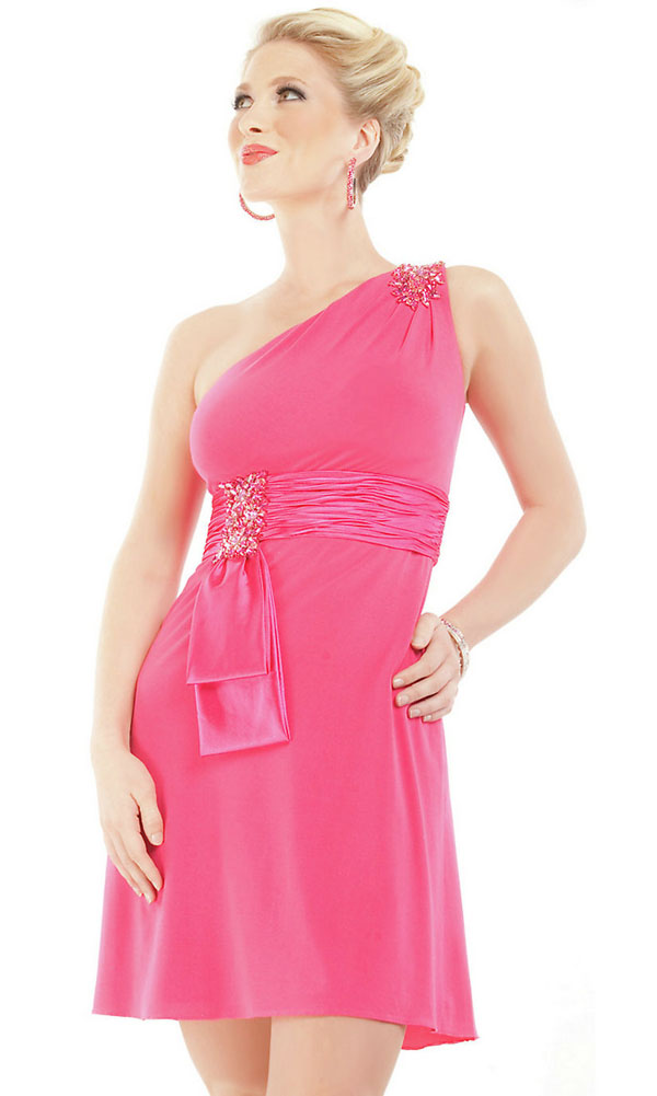 Hot Selling One Shoulder Beaded Short A-line Hot Pink Homecoming Dresses/Party Dresses Under $100(China (Mainland))