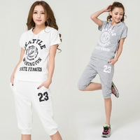 Free shipping 2013 promotion women Letter sports wear hoodie+short jogging suit (grey/white) 4013