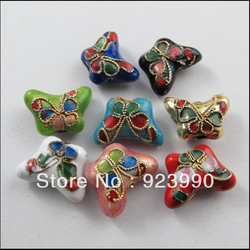 Free Shipping 8Pcs Cloisonne Enamel Butterfly Spacer Bead Red Silver Black Mixed 10.5x15mm for For Jewelry Making Craft DIY(China (Mainland))