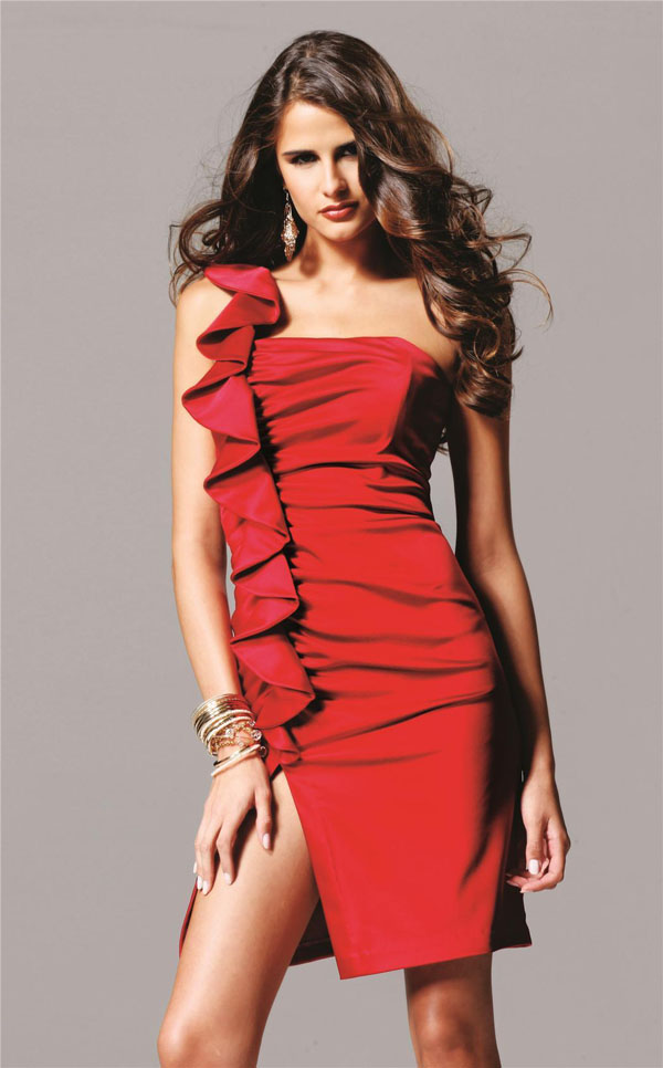Hot Selling! Special Design A-line One Shoulder Front Slit Ruffled Mini Red Party Dresses Under $100(China (Mainland))