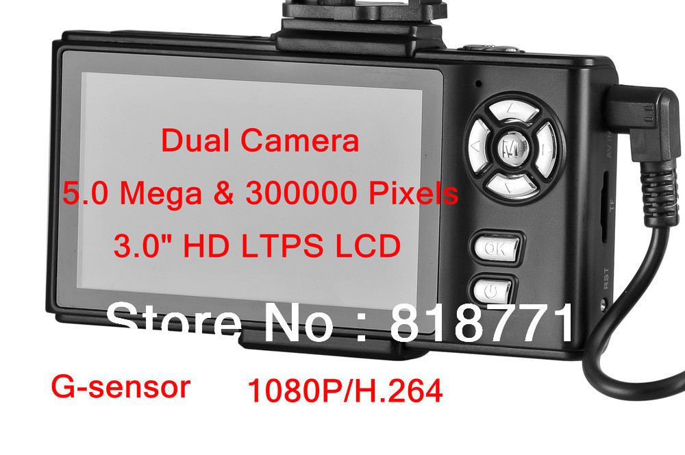 "Dual-camera DVR 5.0 Mega Pixels 3.0"" HD 1080P TFT LCD G-sensor Car DVR Car Black Box Recorder Camcorder Fast SGP POST(China (Mainland))"