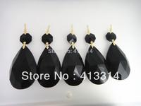 BLACK COLOR CRYSTAL PRISMS 50MM TEARDROP GLASS FOR CHANDELIER LAMP PART
