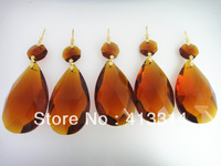 AMBER COLOR CRYSTAL PRISMS 50MM TEARDROP GLASS FOR CHANDELIER LAMP PART