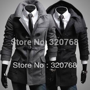 Free Shipping 2014 new men's jacket detachable hat jacket men's woolen jacket horn button wool coat