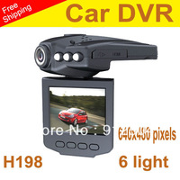 "Video Registrar with 115 Degree View Angle 2.5"" LCD 6 IR LED H198 Car DVR  Night Vision DVR Car Camera"