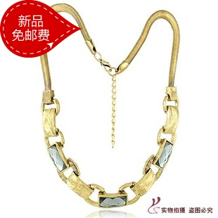 Min.order is $15 (mix order),free shipping,korean fashion necklace 2013 square gem short design chain retro costume jewellery(China (Mainland))