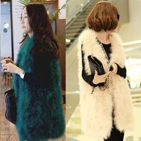 13 Colors Autumn Winter 2014 Women Genuine Ostrich Feather Fur Vests Jackets Warm Rabbit Fur Fox Fur Waistcoats Gilets Coats
