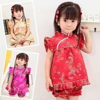 Wholesale! Hot baby kids girls qipao silk summer dress! cheongsam costume!party dress set for girls of 1 2 3 4 year!10sets/lot
