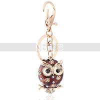Free Shipping Wholesale Flower Owl 18k Gold Plated Zinc Alloy Crystal Keychains Handbag Buckle Foreign Style Trendy Accessory