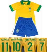 Best quality Brazil child football shirts 13-14 home yellow Brasil jerseys soccer kids sportswear #11 NEYMAR Free Shipping