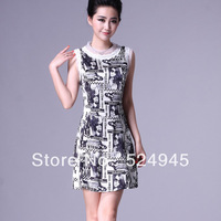 2013 summer women's 46 short-sleeve slim fashion silk ol one-piece dress